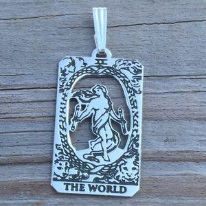 World Tarot Card Pendant solid Sterling Silver
